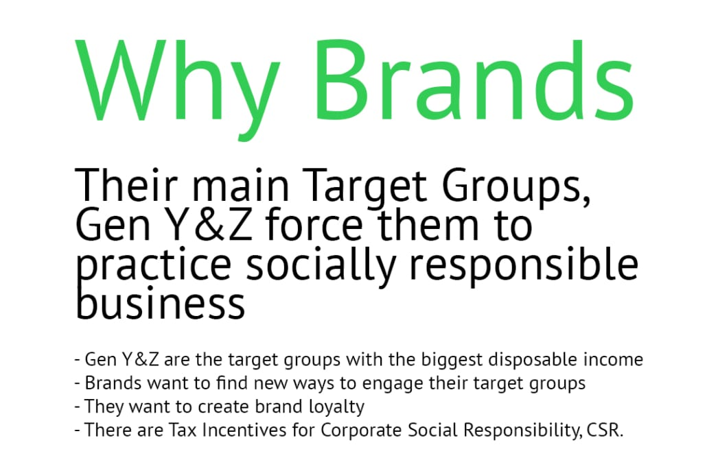 Their main Target Groupds, Gen Y & Z force them to practice socially responsible business - Gen Y &Z are the target groups with the biggest disposable income - Brands want to find new ways to engage their target groups - They want to create brand loyalty - There are Tax Incentives for Corporate Social Responsibility, CSR.