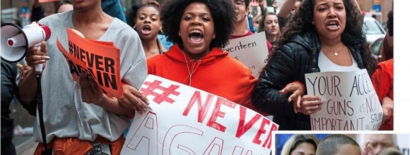 High-school students Nia Arrington (center), Christian Carter (left), and Cheyenne Springette (right) lead the march down Liberty Avenue in downtown Pittsburgh during a walk-out in solidarity with Parkland students on February 2, 2018 (Stephanie Strasburg / Pittsburgh Post-Gazette via AP) Emma Gonzalez, a senior at Marjory Stoneman Douglas High School, speaks at a rally for gun control at the Broward County Federal Courthouse, in Fort Lauderdale, Florida (Rhona Wise)
